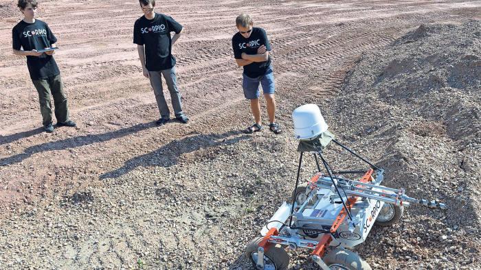 Polish students with their award-winning 'Scorpio' Mars-roving robot