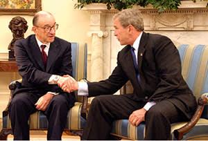 Alan Greenspan with former US President George W. Bush