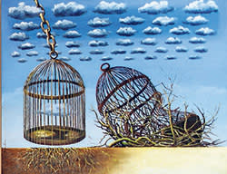 A painting by Jorge Leyva of two bird cages set on parched, cracked earth