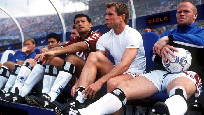 On the bench during a Bundesliga match in Germany, 2000