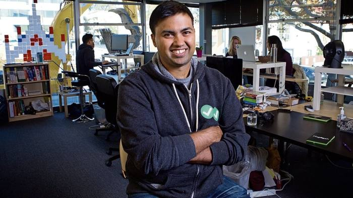 Bhavin Parikh, co-founder and CEO of Magoosh, talks about the company which offers online help to students taking tests such as GMAT exams, at the Magoosh offices in Berkeley, California, Tuesday, November 17, 2015. Thor Swift for the Financial Times