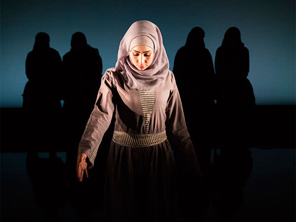 Reham in rehearsal at the Young Vic