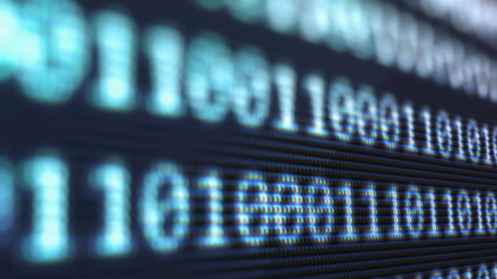 Rows of numbers forming binary code....D0MRN8 Rows of numbers forming binary code.