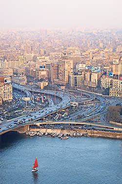 The 6th October bridge and flyover above Abdel Moneim Riad square next to the Nile in central Cairo