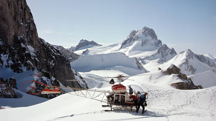 The first heli-skiers land in the Bugaboo Mountains in 1965