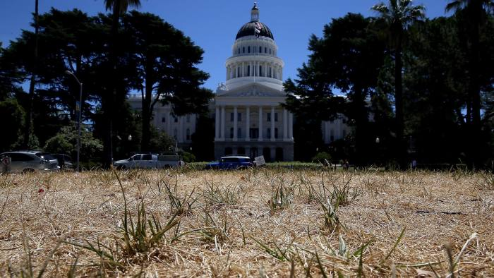 SACRAMENTO, CA - JUNE 18:  The lawn in front of the California State Capitol is seen dead on June 18, 2014 in Sacramento, California. As the California drought conitnues, the grounds at the California State Capitol are under a reduced watering program and groundskeepers have let sections of the lawn die off in an effort to use less water.  (Photo by Justin Sullivan/Getty Images)