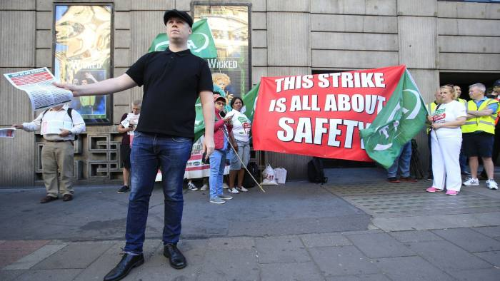 A picket line opposite Victoria Station in London, as hundreds of thousands of rail passengers face a week of travel chaos because of a five-day strike in an escalating dispute over the role of conductors. PRESS ASSOCIATION Photo. Picture date: Monday August 8, 2016. Members of the Rail, Maritime and Transport union at Southern Railway walk out today after talks aimed at resolving the long running row collapsed. See PA story INDUSTRY Southern. Photo credit should read: Jonathan Brady/PA Wire