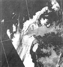 A 1995 satellite photograph which revealed the disappearance of a huge ice shelf on the edge of the South Pole