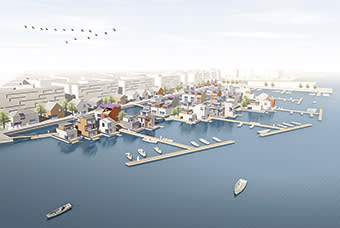 CGI of Helsinki's floating home project