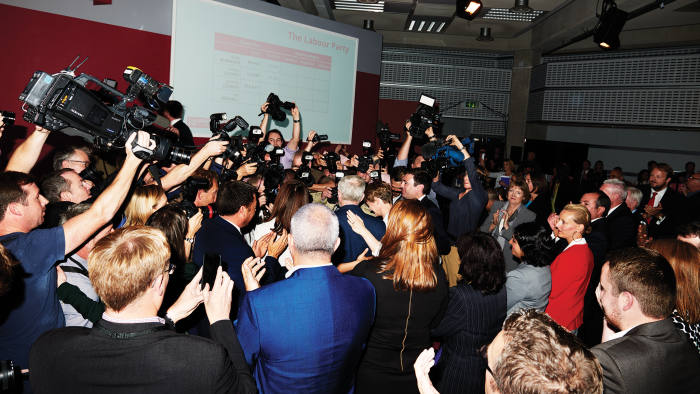 Corbyn engulfed by the press after his election, Queen Elizabeth II Conference Centre, London, September 12