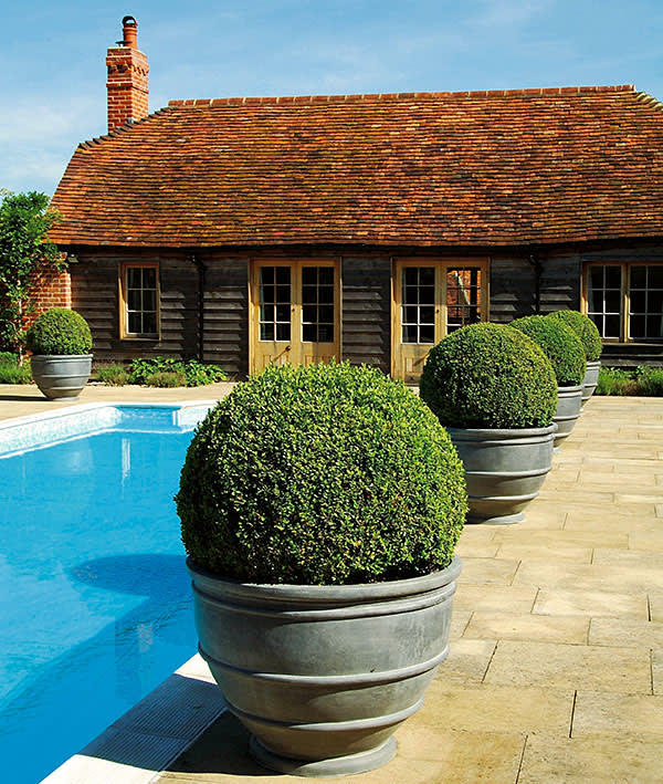 Lead 'egg cup' planters by Bulbeck Foundry
