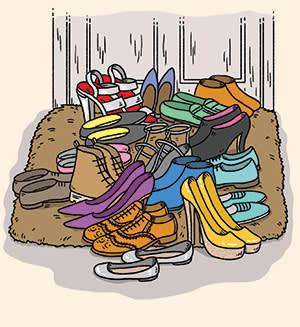 Illustration depicting a no-shoe home