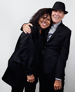 Photo of Sharon Robinson and Leonard Cohen taken backstage at The O2 Arena for FT Weekend Magazine