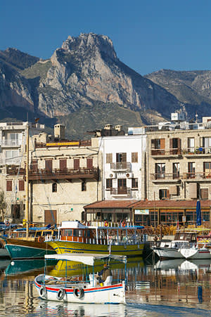 Kyrenia harbour with St Hilarion in the background