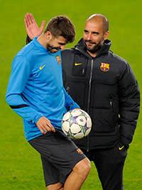 Piqué training with former Barca coach Pep Guardiola, December 2011