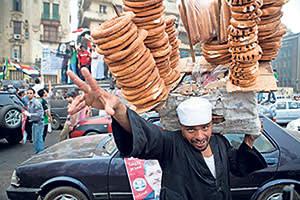 A pretzel seller in Tahrir Square, Cairo