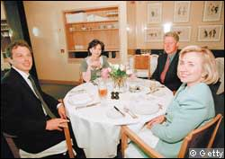 The Blairs and the Clintons at Le Pont de la Tour