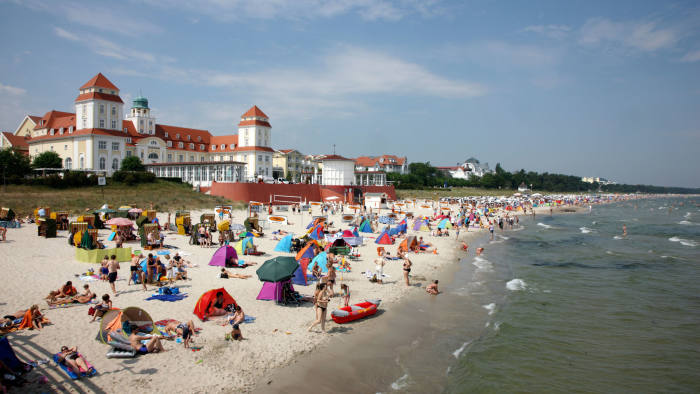 Seaside resort Binz on the island of Ruegen, northeast Germany at the baltic sea. Summertime, full beaches.. Image shot 07/2010. Exact date unknown.