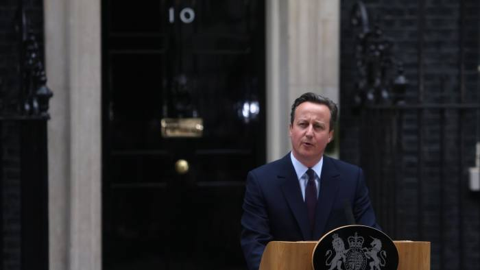 Prime Minister David Cameron outside 10 Downing Street, London
