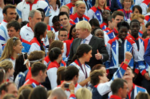 Johnson talks to athletes at the Olympic and Paralympic Parade at the Queen Victoria Memorial, London, September 10 2012