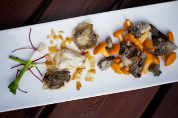 Cod cheek with tongue witch chanterelle served at Bulaj