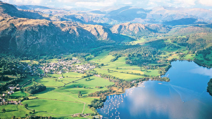 View over Coniston lake towards Helvellyn in the Lake District