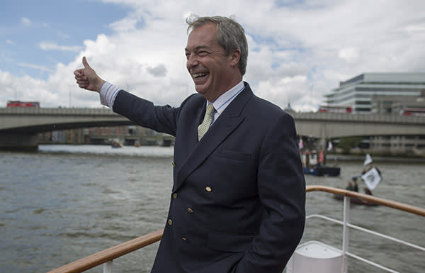 Nigel Farage and the leave campaign seal to Westminster to protest about the EU fishing quotas. Charlie Bibby 15/6/2017