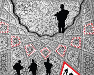 'Men at Work I-IV' painting on silkscreen by Abdulnasser Gharem