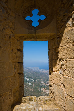 The view from a window at St Hilarion