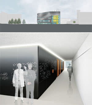 Above: the north elevation; Below: an artist's impression of the walls around the central lab, which will be clad in a writable material to promote the exchange of ideas