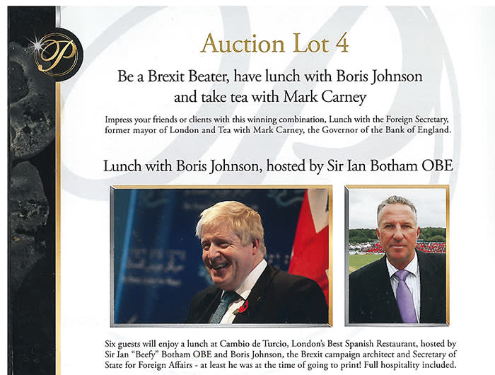 Auction lots included a lunch with foreign secretary Boris Johnson and former England cricketer Ian Botham