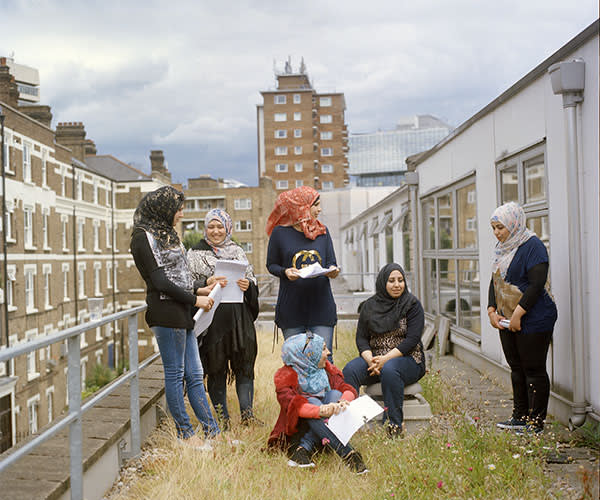 A script meeting on the roof of the Young Vic theatre