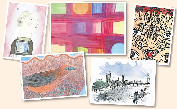 A selection of the secret postcards on sale on March 22 at the Royal College of Art in London