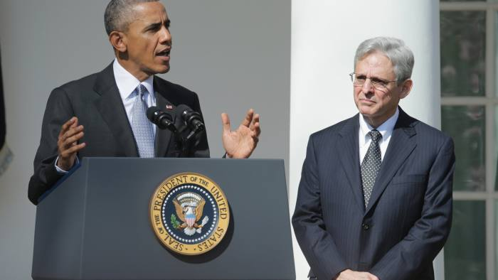President Obama Announces Merrick Garland As His Nominee To The Supreme Court...WASHINGTON, DC - MARCH 16: U.S. President Barack Obama (L) stands with Judge Merrick B. Garland, while nominating him to the US Supreme Court, in the Rose Garden at the White House, March 16, 1016 in Washington, DC. Merrick currently serves on the United States Court of Appeals for the District of Columbia Circuit, and if confirmed by the US Senate, would replace Antonin Scalia who died suddenly last month. (Photo by Chip Somodevilla/Getty Images)