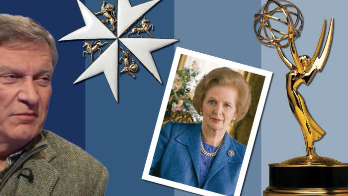 Under scrutiny: Ted Malloch; a breast star of the Order of St John; Margaret Thatcher; an Emmy Award statuette