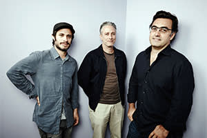 Gael García Bernal, Jon Stewart and Bahari after the release of 'Rosewater'