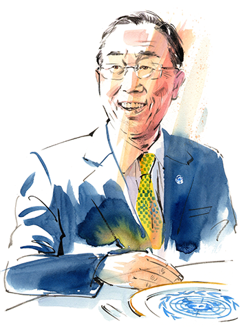 Illustration by Gary Wing of Ban Ki-moon