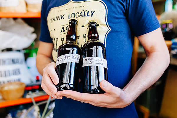 Jon Finch of Grill Stock shows his beer in his home brewery in the village of Chalford