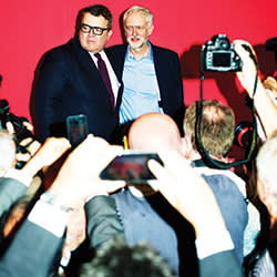 With his newly elected deputy Tom Watson, at the QEII centre, London, September 12