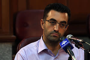The dissident: Maziar Bahari at a press conference after his trial in Tehran, 2009