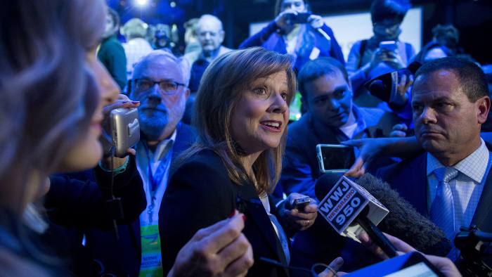 Mary Barra, chief executive officer of General Motors Co. (GM), speaks to members of the media during a General Motors Co. Buick event ahead of the 2016 North American Auto Show (NAIAS) in Detroit, Michigan, US, on Sunday, Jan. 10, 2016