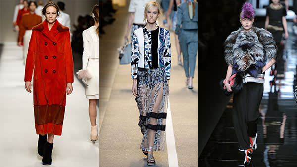 Fantasy fur, Fendi style: vivid at AW14; luxe for AW15; intarsia for SS15