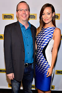 With actress Olivia Wilde at the Toronto International Film Festival, 2013