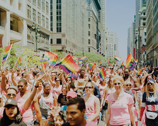Revellers at NYC Pride on Fifth Avenue
