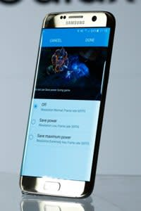 A new Samsung Electronics Co. Galaxy S7 edge with 3D thermo forming displays the power saving options page in this arranged photo in London, U.K., on Thursday, Feb. 18, 2016. Samsung showed off new Galaxy S7 smartphones featuring upgraded components and the return of a popular feature missing from their predecessors, in the latest attempt to breathe life into its premium line and wrest ascendancy back from Apple Inc. Photographer: Luke MacGregor/Bloomberg