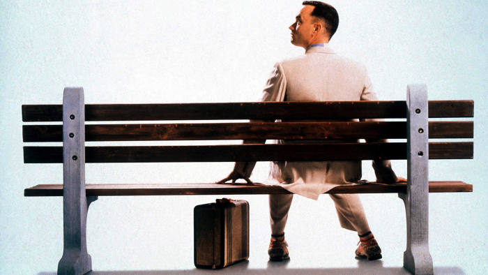 Tom Hanks as Forrest Gump on the ubiquitous bench