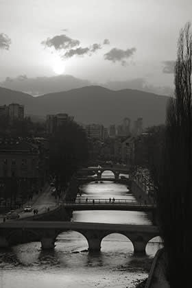 The river Miljacka, Sarajevo. The fourth bridge from the front, now the Latin Bridge, was renamed in honour of Princip in postwar Yugoslavia