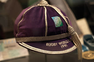 Memorabilia from the 1991 World Cup at the New Zealand Rugby Museum in Palmerston North