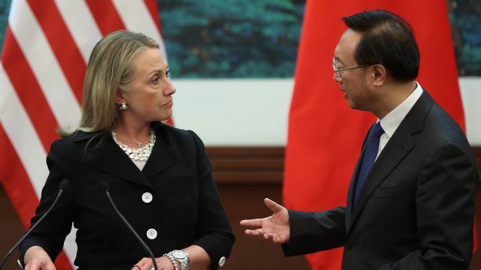 BEIJING, CHINA - SEPTEMBER 05: (L-R) U.S. Secretary of State Hillary Clinton talks with Chinese Foreign Minister Yang Jiechi during a press conference at the Great Hall of the People on September 5, 2012 in Beijing, China. Secretary Clinton will urge the Chinese to use a collective diplomatic approach in solving terriorial disputes with its neighbors. (Photo by Feng Li/Getty Images)
