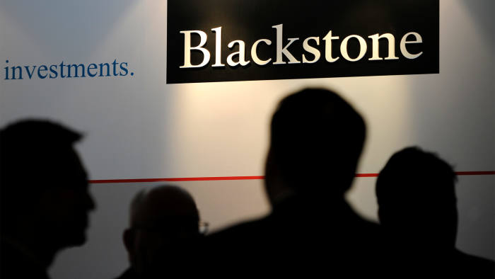 The logo for Blackstone Group LP is displayed during the opening of the company's new office in Singapore, on October 21 2013